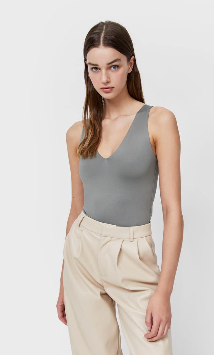 V-neck polyamide bodysuit