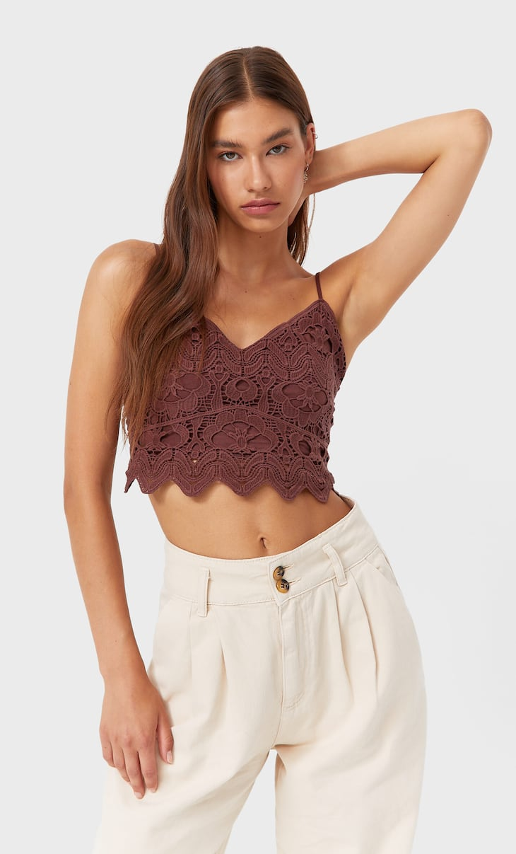 Top cropped guipur