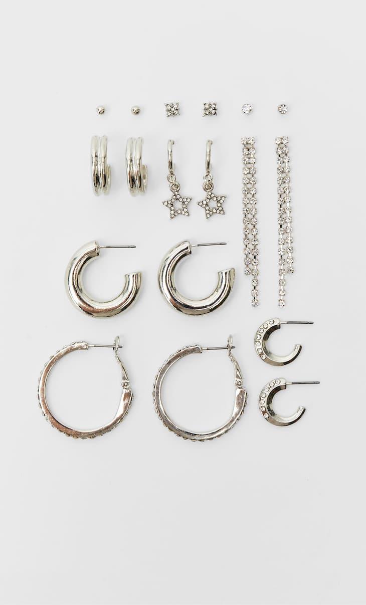 Set of 9 pairs of hoop and crystal earrings