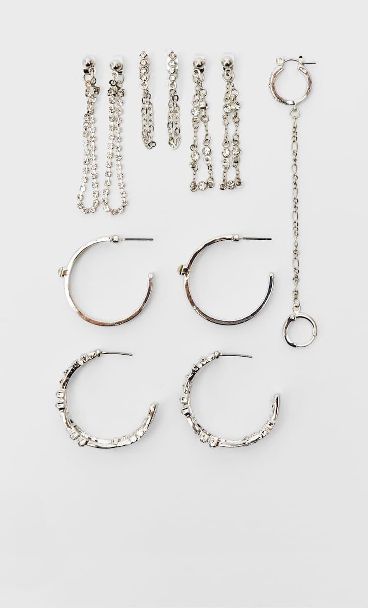 Set of 6 hoop and chain earrings