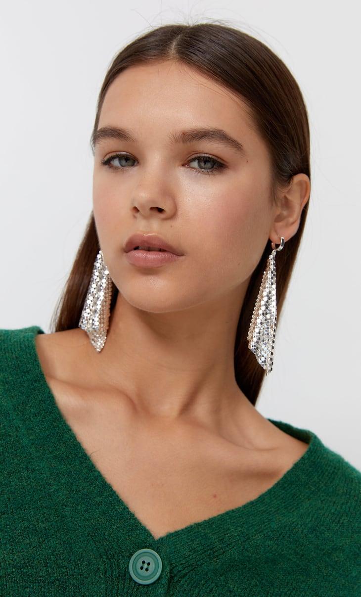 Long mesh earrings