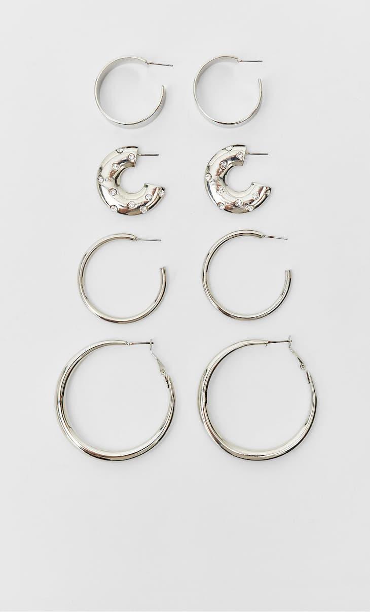 Set of 4 hoop earrings