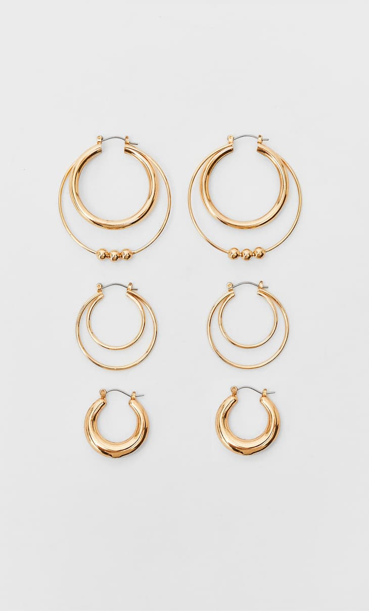 Set of 3 hoop earrings with small beads