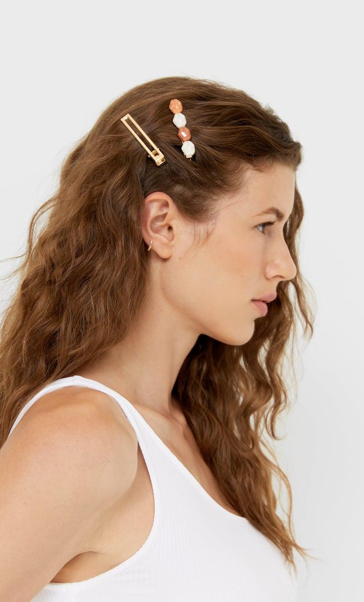 Lot de 4épingles à cheveux pierres