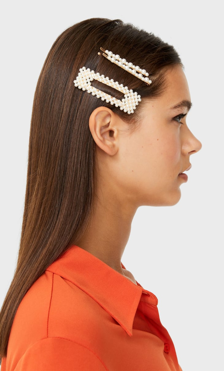 Pearl bead hair clip and slide set