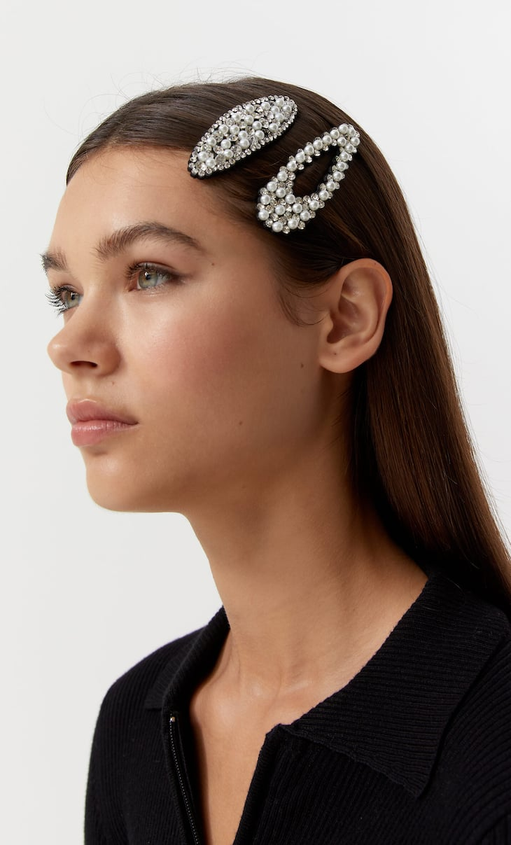 Set of 2 pearl bead and diamanté clips