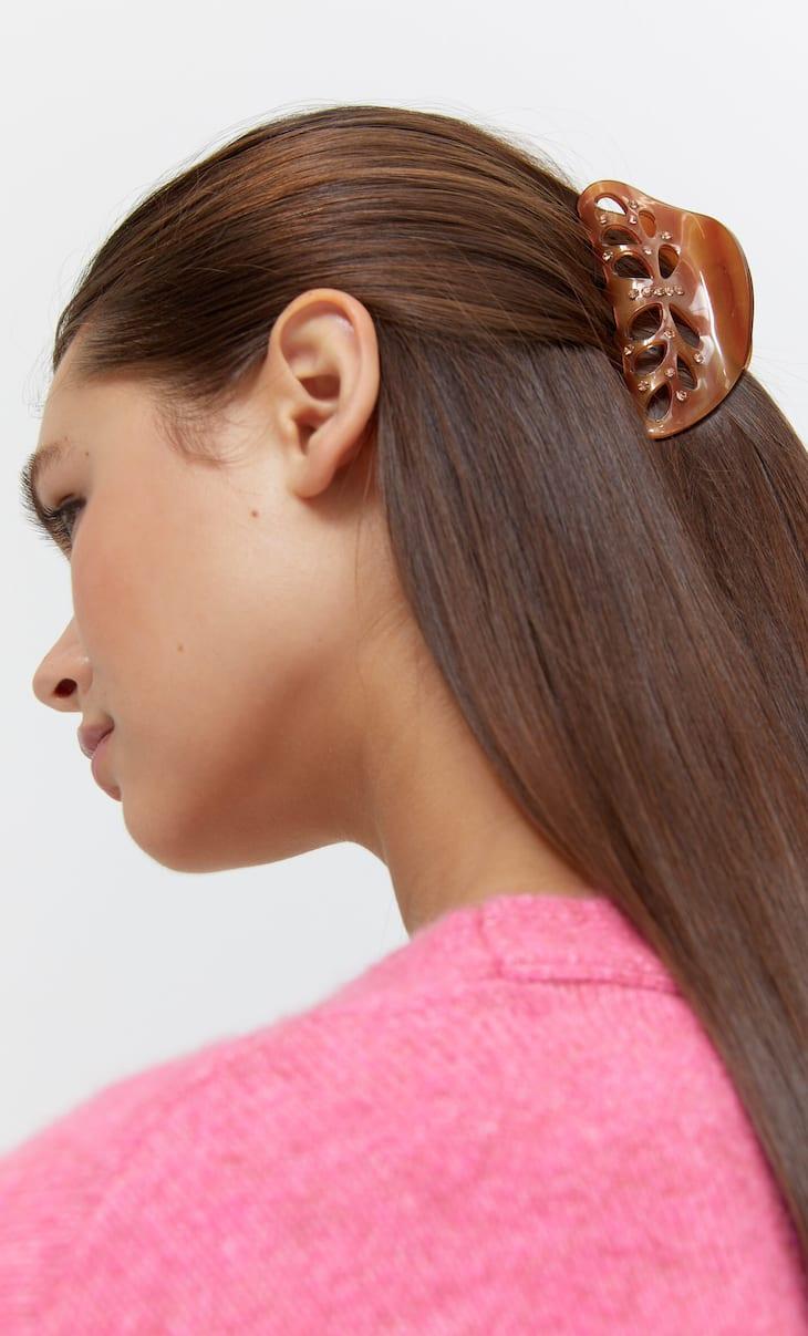 Haarklammer aus Acrylglas mit Strass
