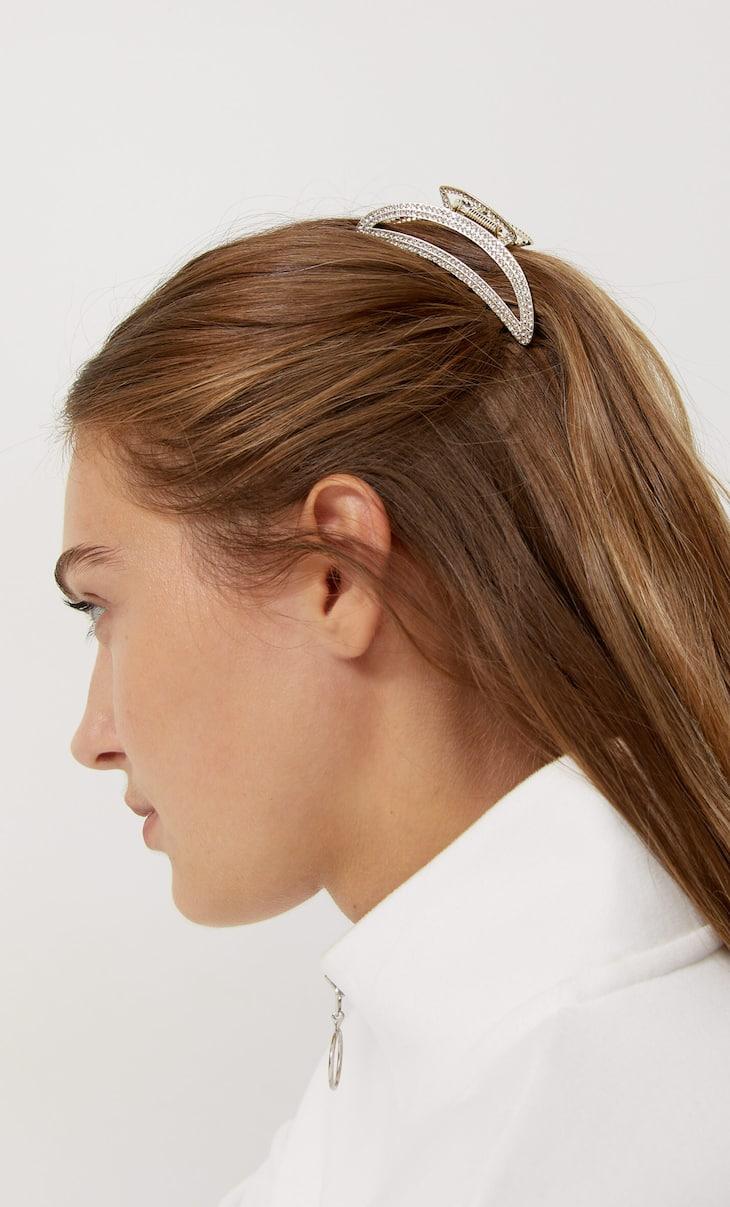 Metal hair clip with diamantés