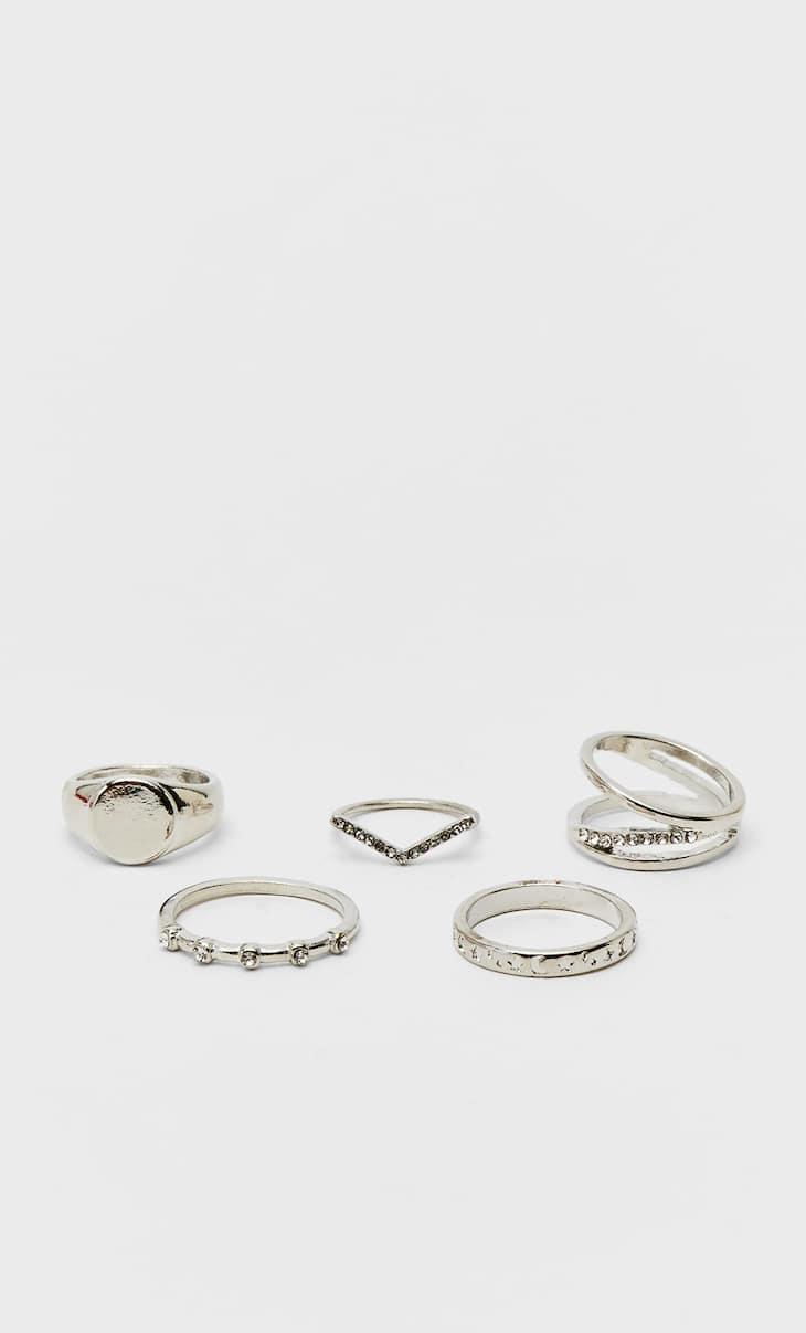 Set of 5 rhinestone rings