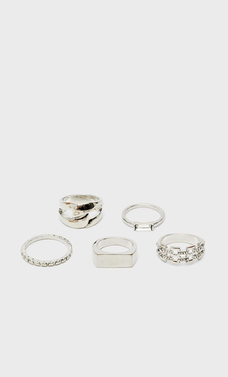 Set of 5 signet and chain rings