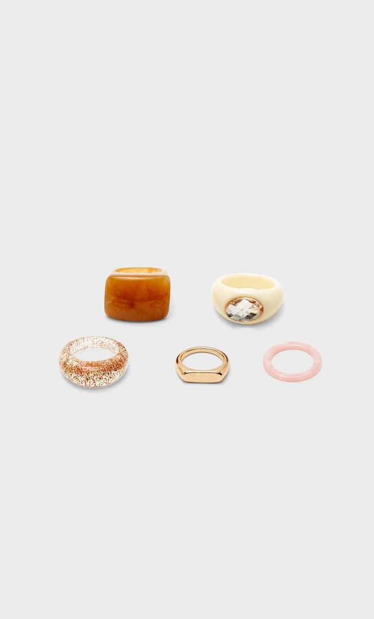 Set of 5 acrylic rings