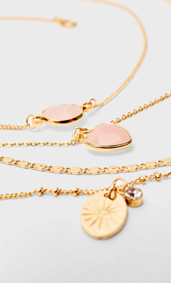 Set of 4 semi-precious stone necklaces