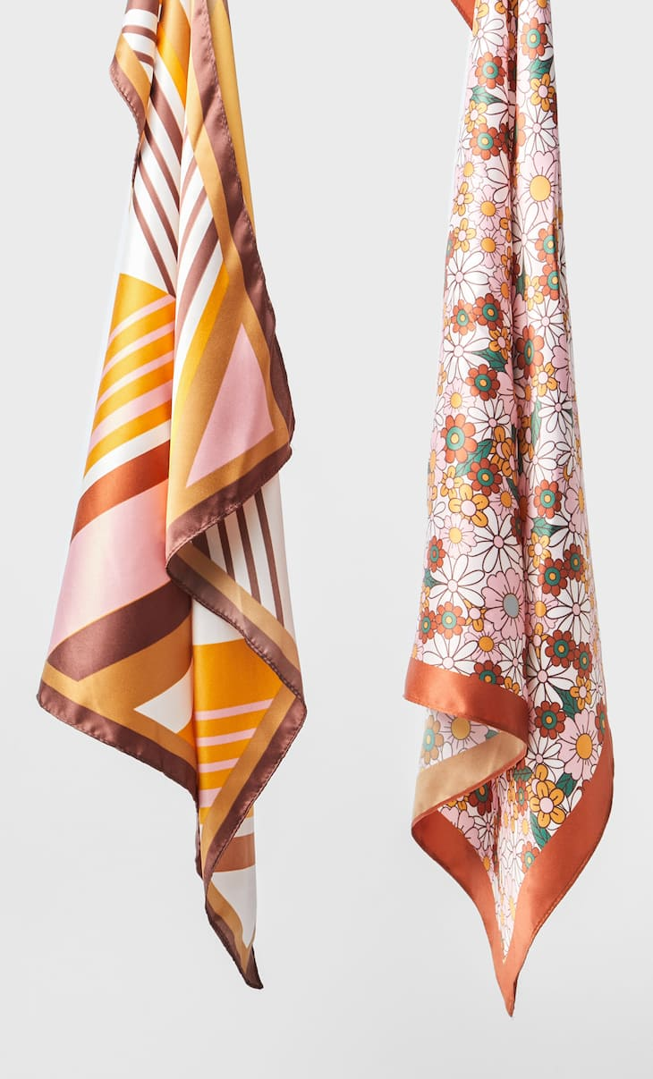2-pack of striped and floral bandanas