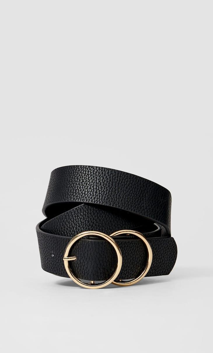 Criss-cross double-buckle belt