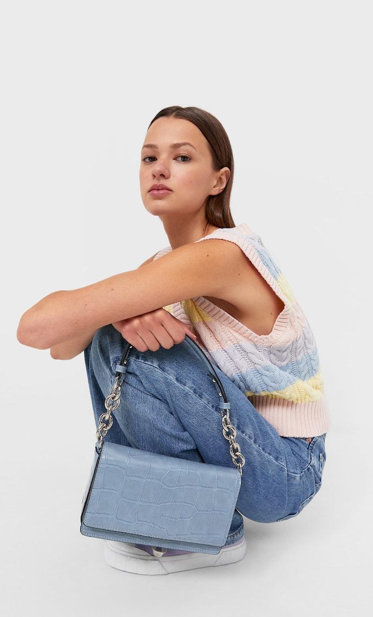 Чанта за рамо с къса дръжка от верижка