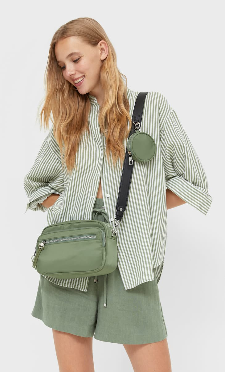 Crossbody bag with zips