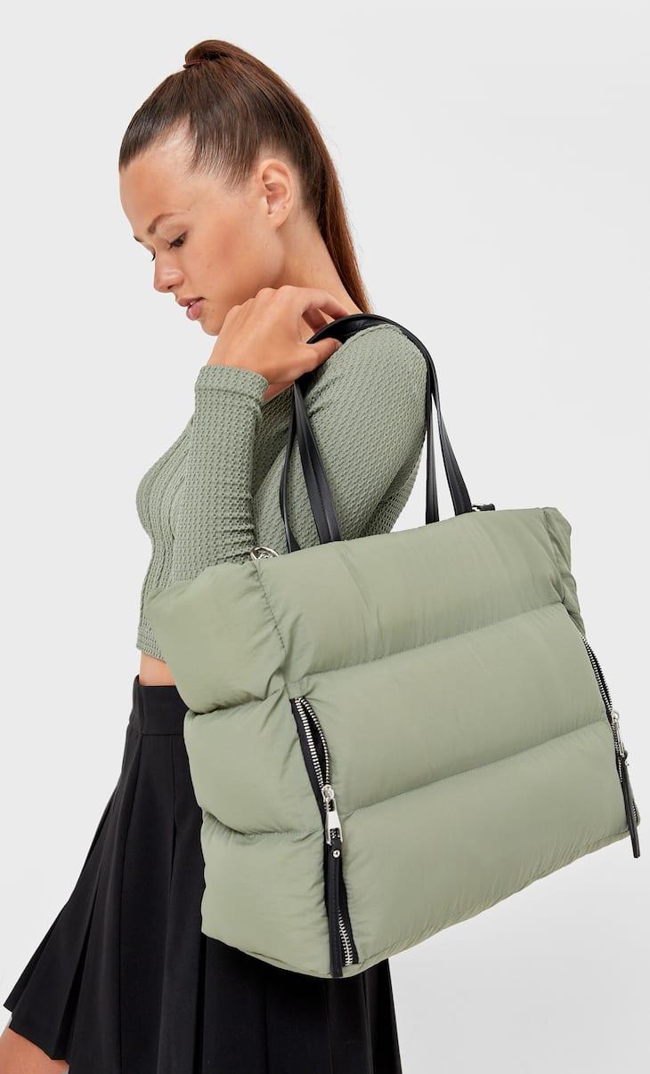 Текстилна чанта тип пазарска с ципове