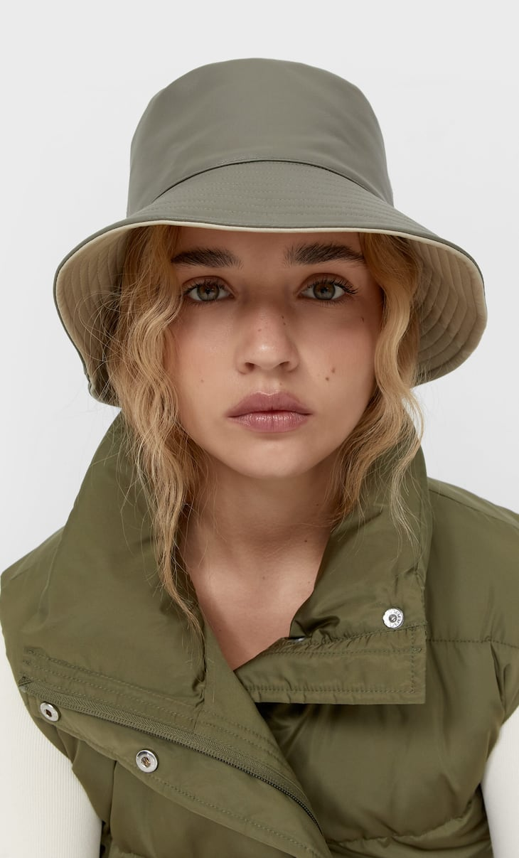 Reversible faux leather hat