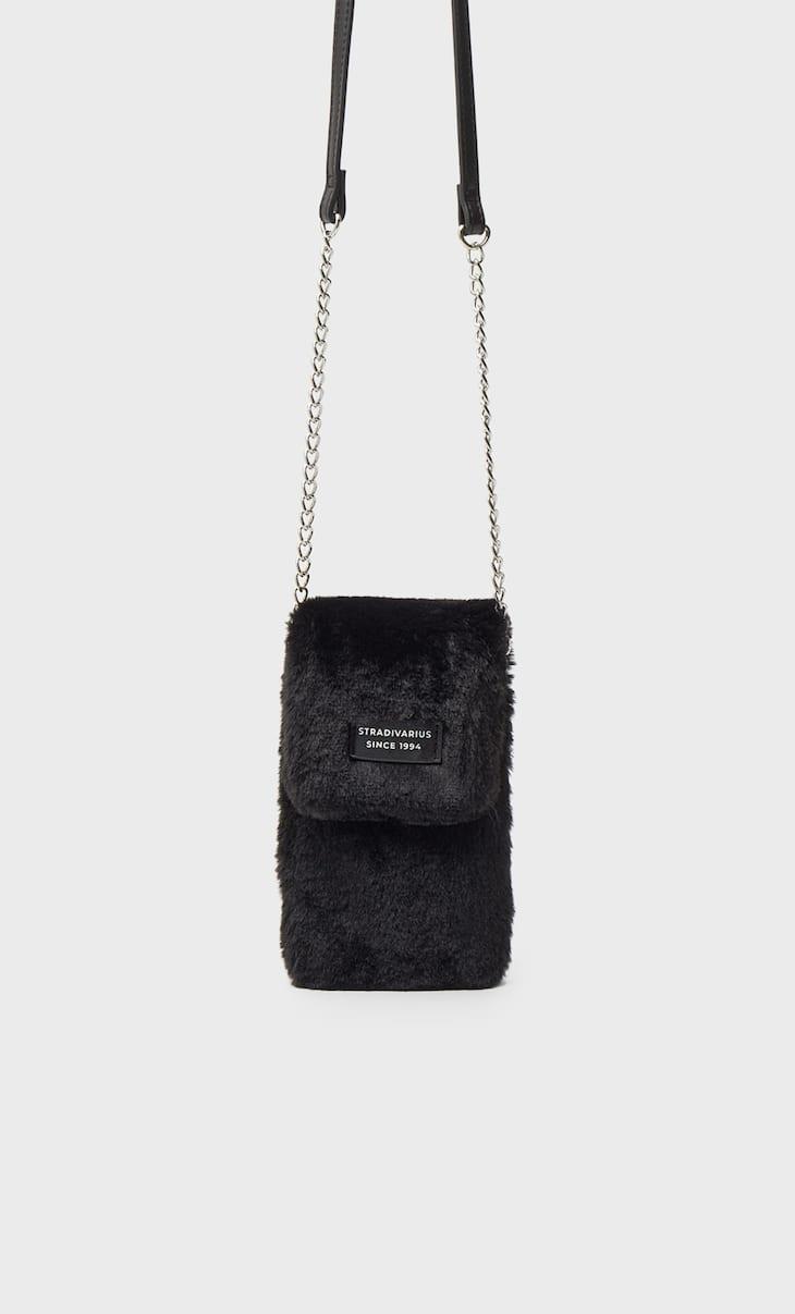 Faux fur smartphone crossbody bag