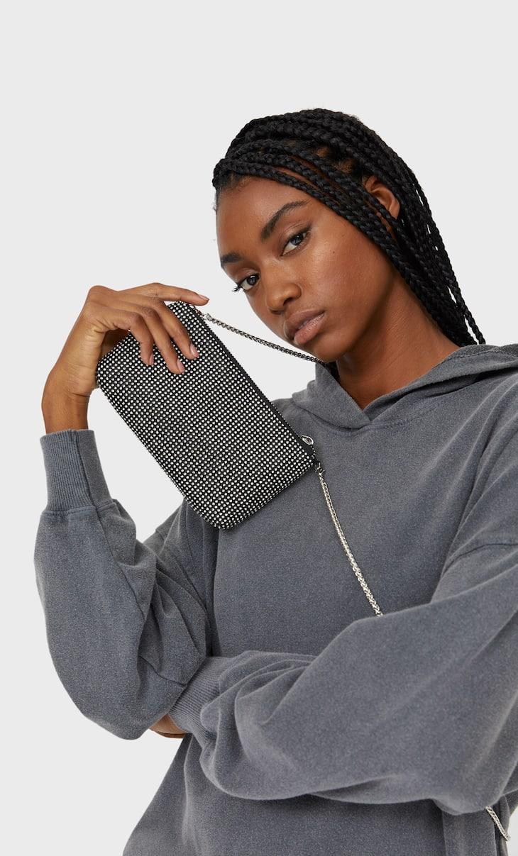 Малка чанта с дълга дръжка и камъчета
