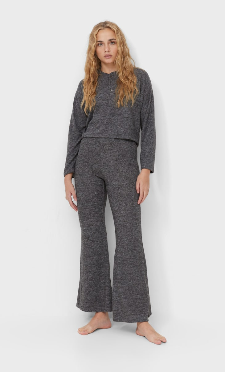 Soft-touch flare pyjama trousers