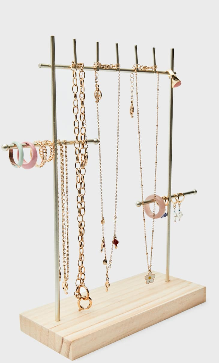 Wooden base jewellery stand