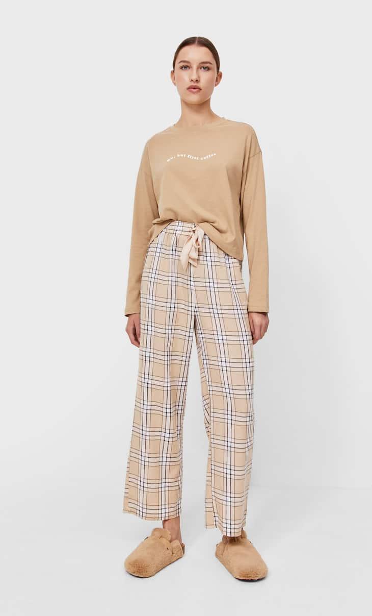 Check long pyjama trousers