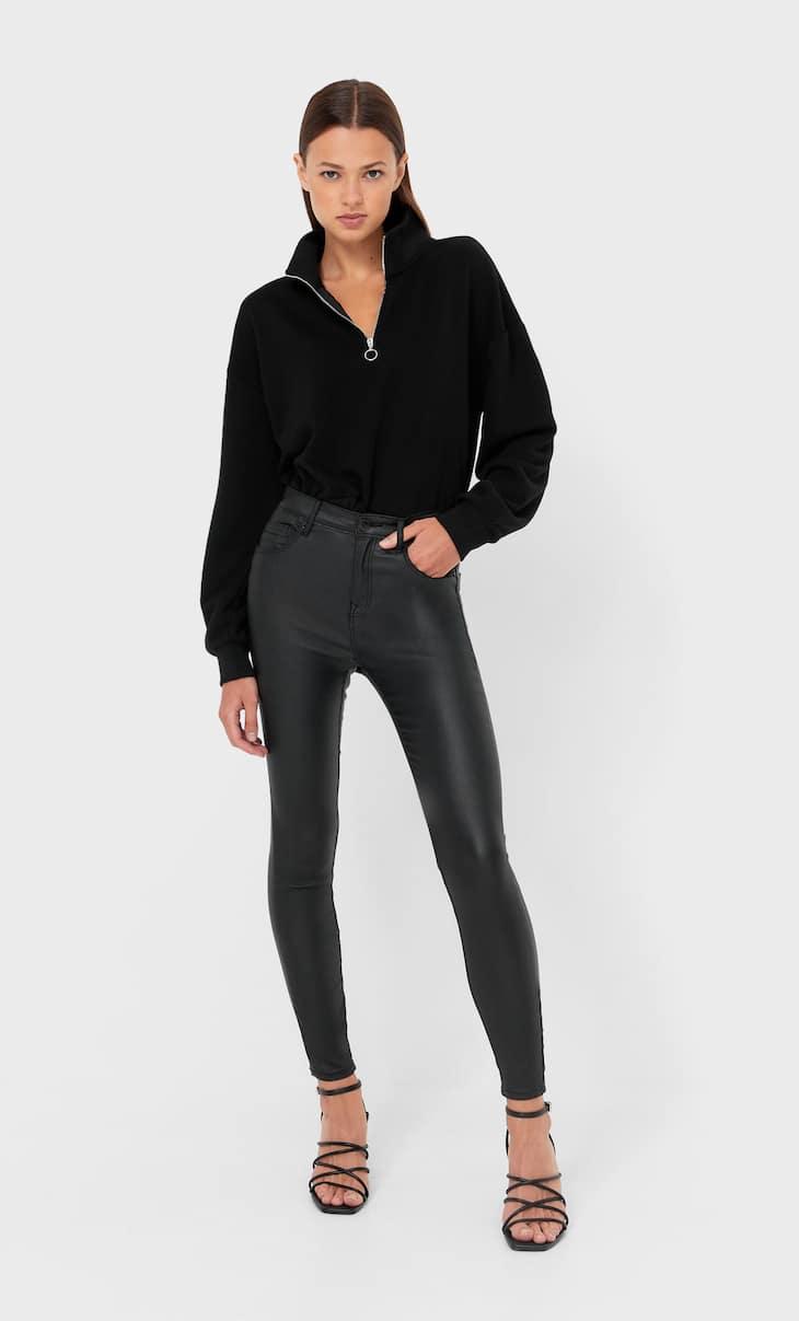Coated high-waist trousers