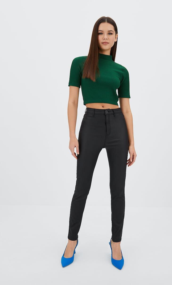 Super high waist coated trousers