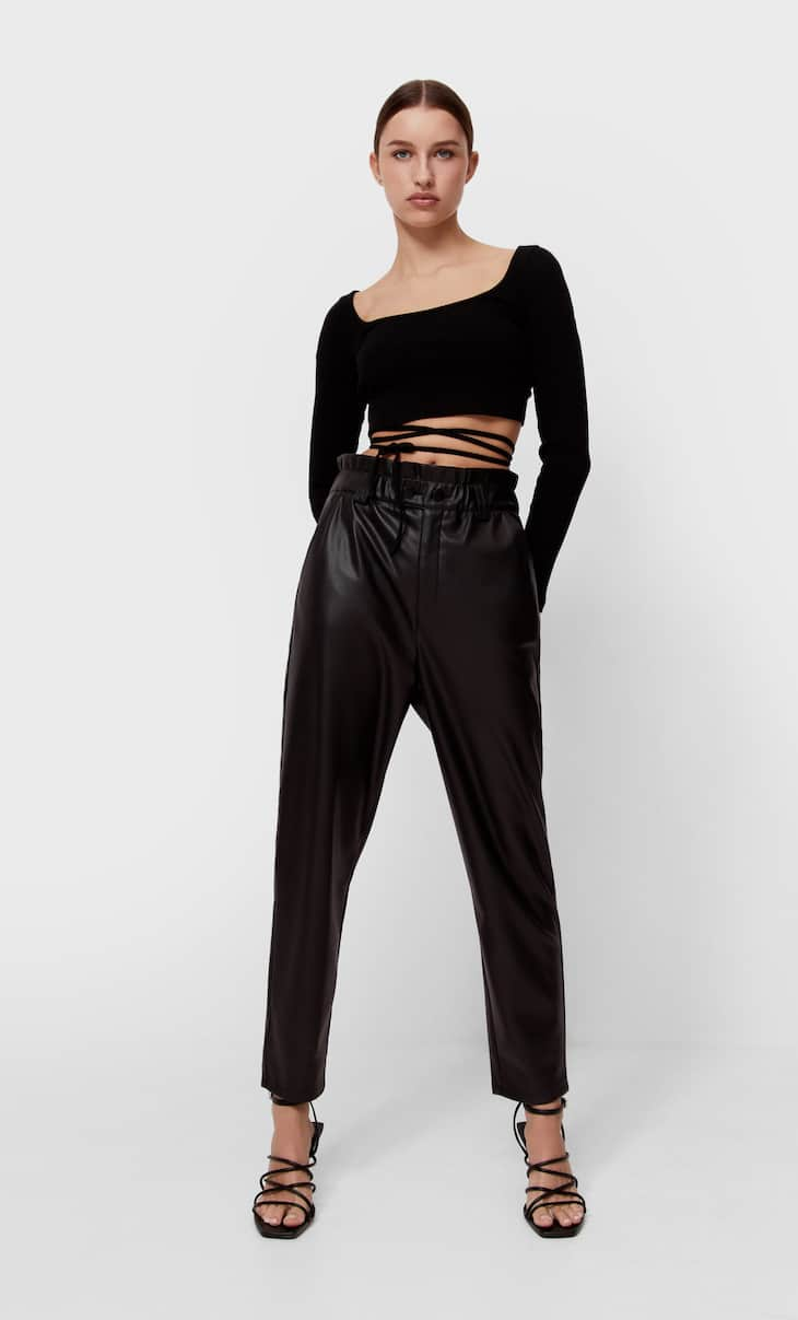 Faux leather baggy trousers