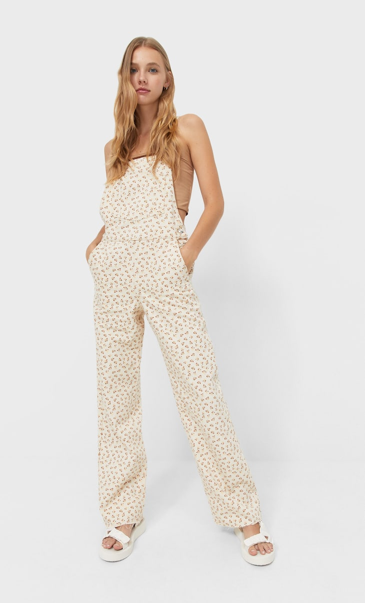 Long floral dungarees