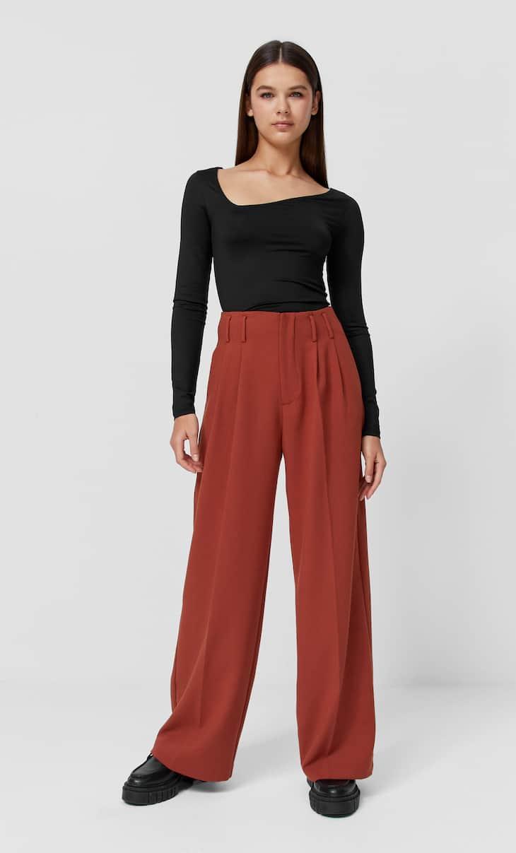 Wide-leg formal wear trousers