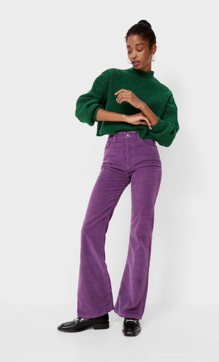 Slim flare corduroy trousers