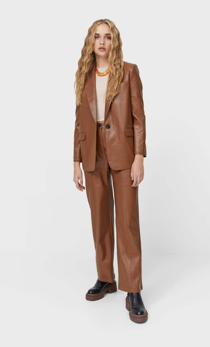 Faux leather trousers with pockets