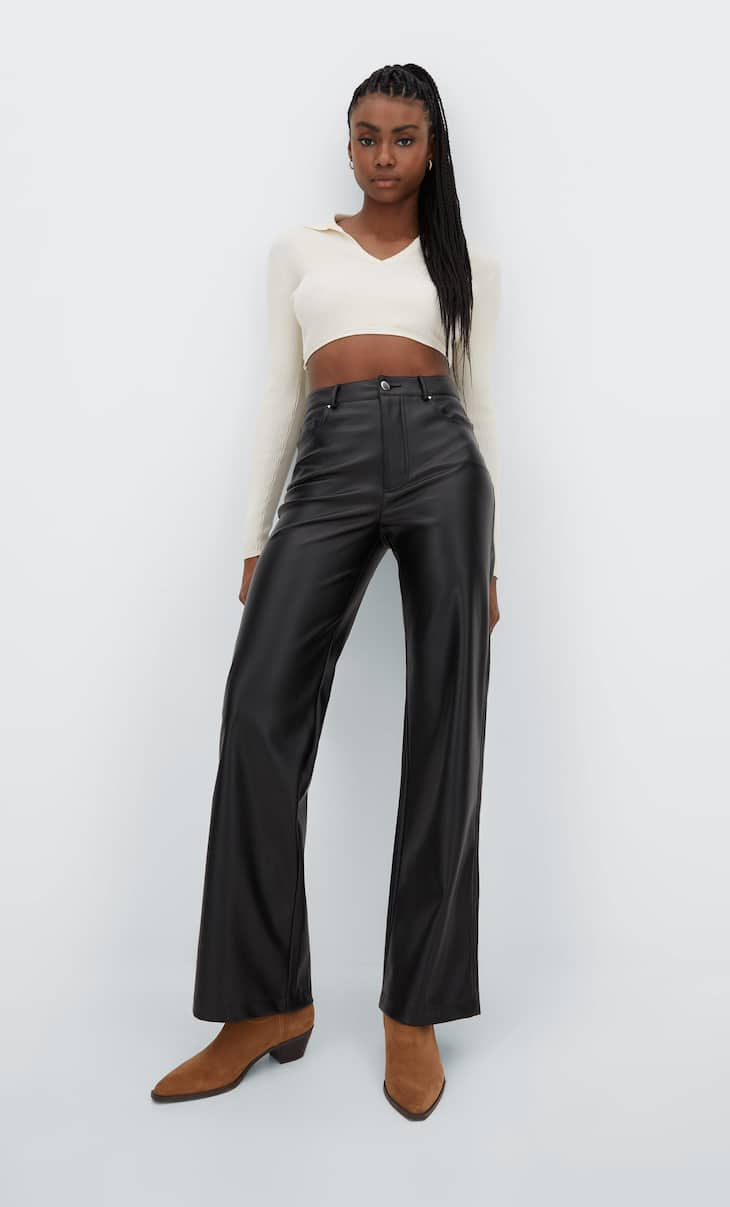 Wide leg faux leather trousers