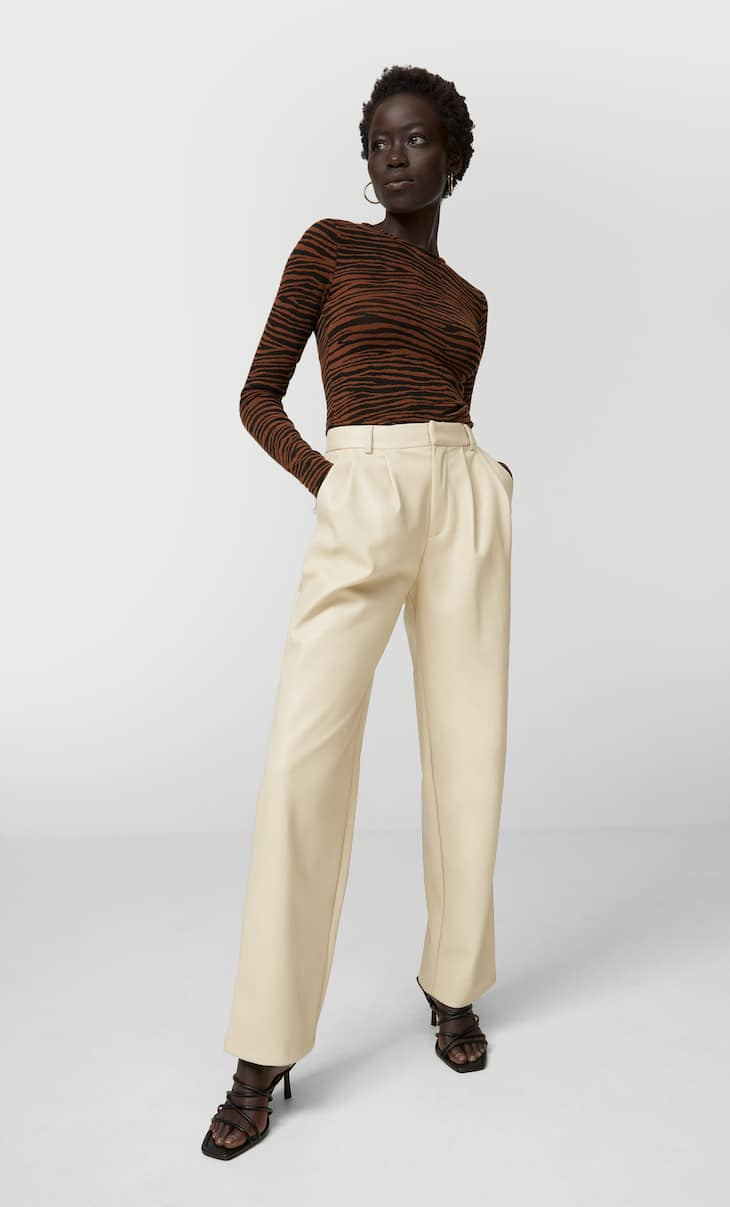 Faux leather darted trousers