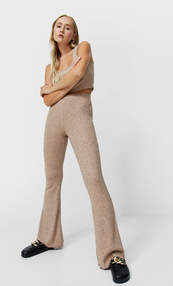 Soft-touch flared ribbed trousers
