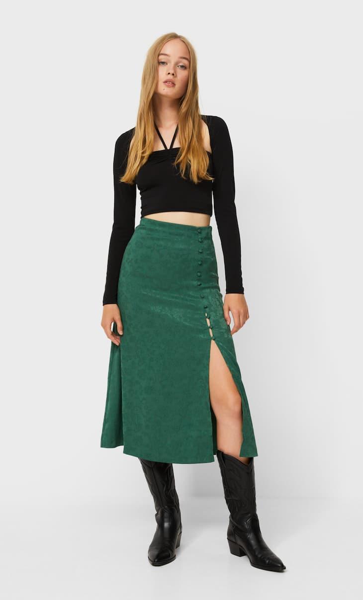 Silky midi skirt