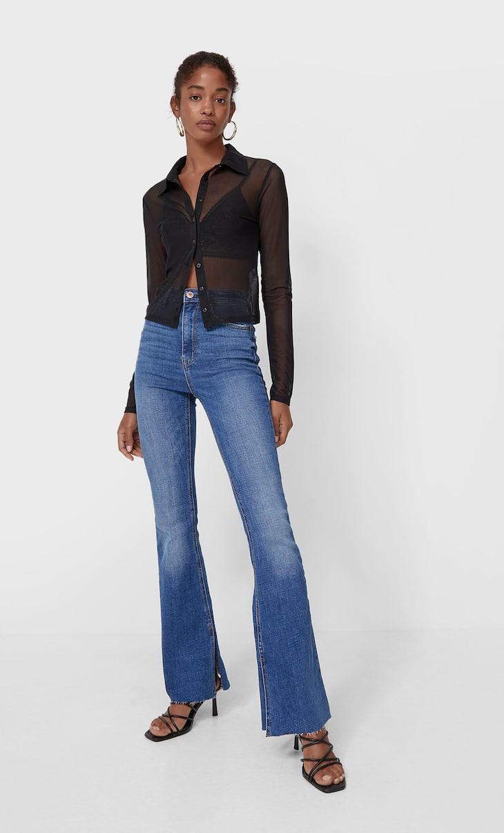 Flared split-hem jeans