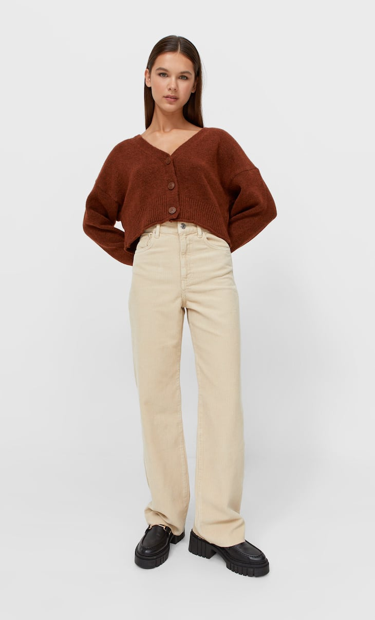 Straight corduroy trousers