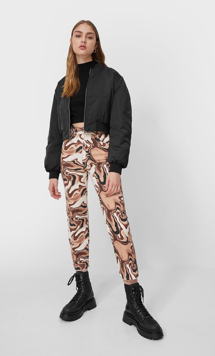 Straight fit wavy print jeans