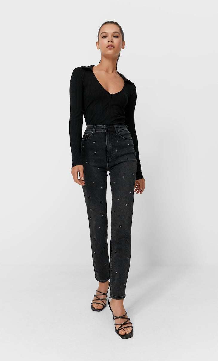 Sparkly slim fit mom jeans