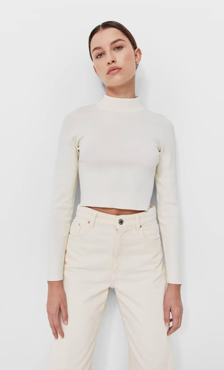 Stretch mock turtleneck sweater