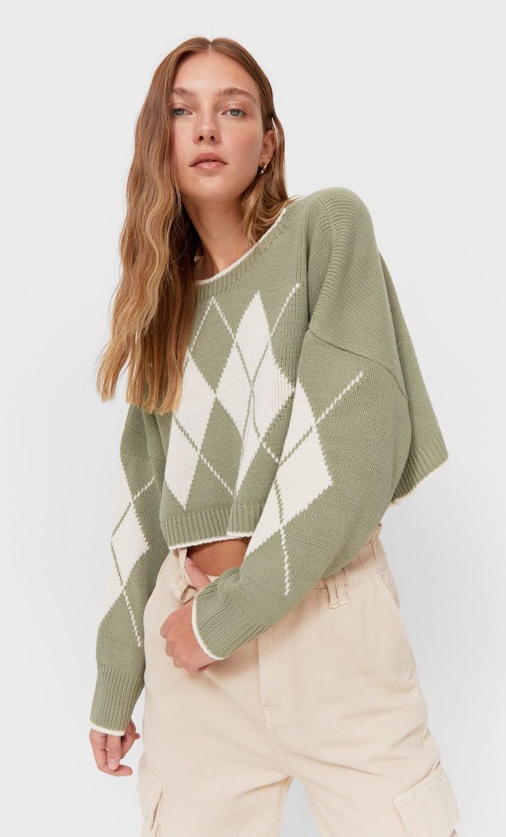 Skrátený sveter s kamienkami