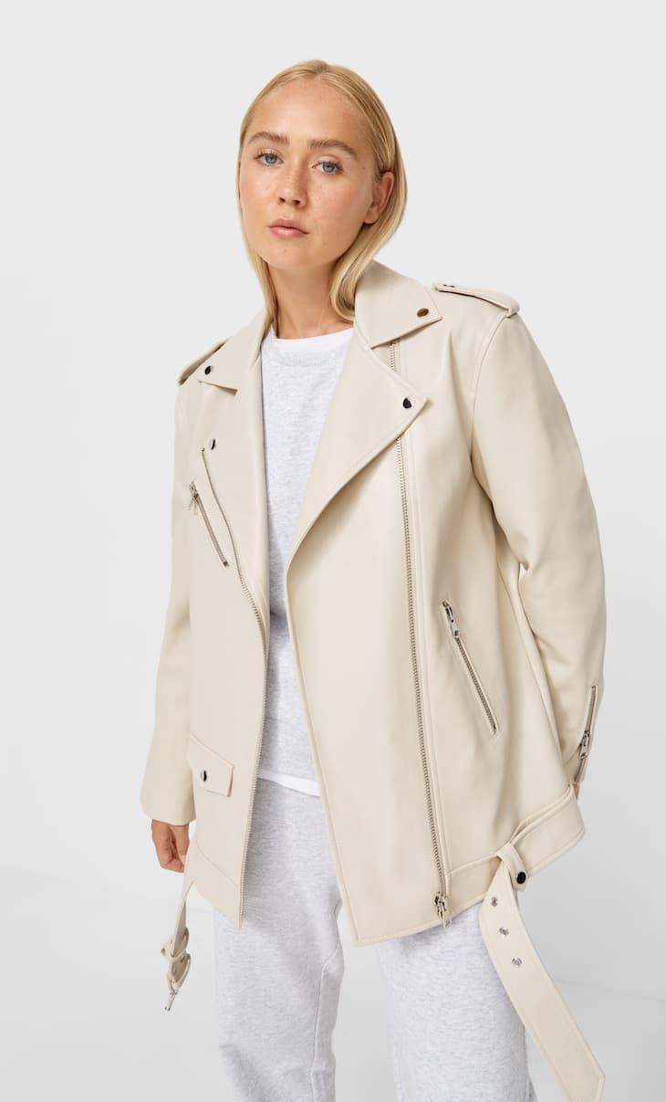 Куртка байкер оверсайз из искусственной кожи