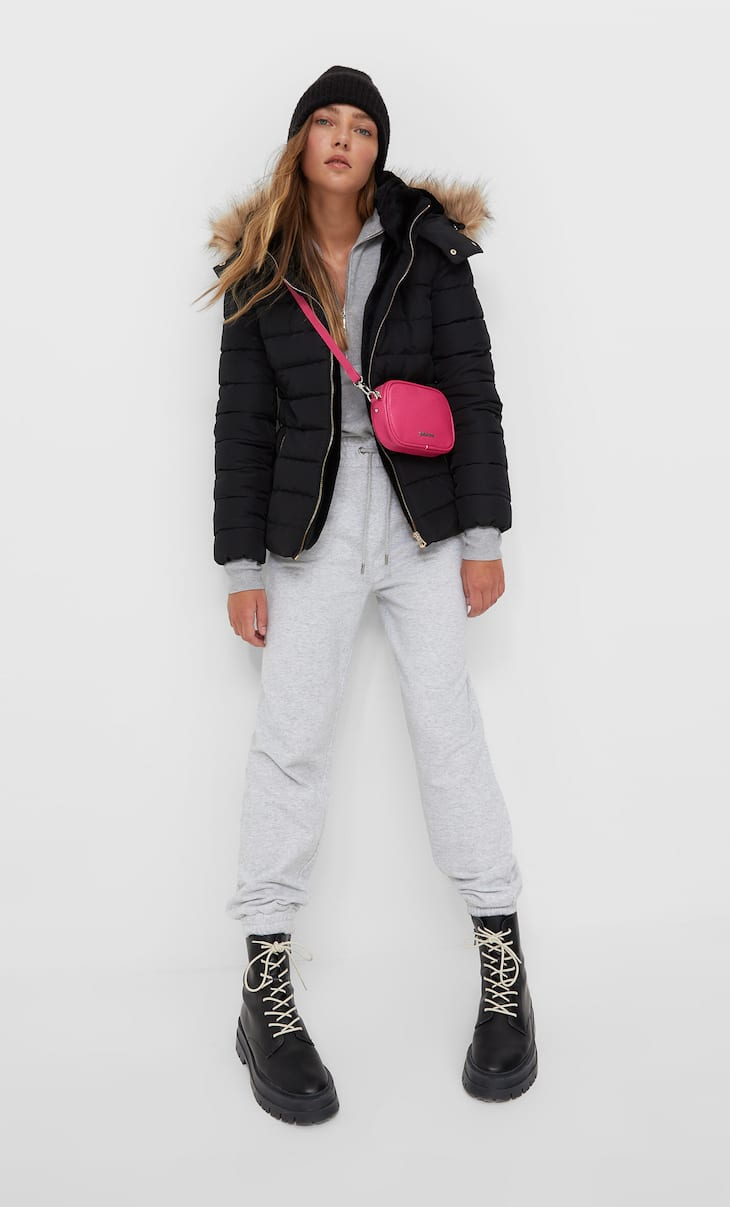 Puffer coat with a hood