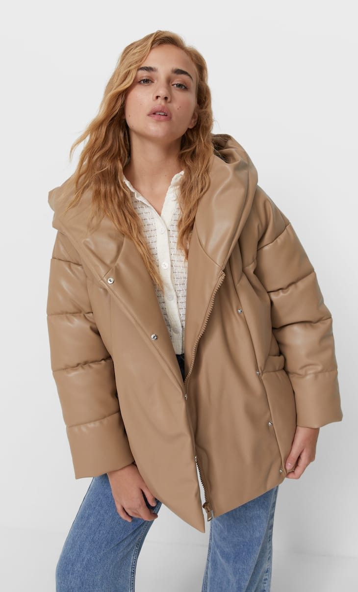 Oversize faux leather puffer jacket with hood
