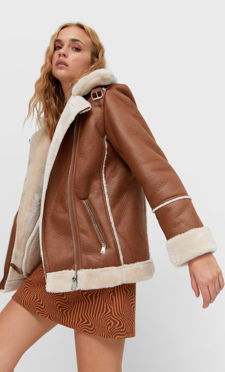 Double-faced biker jacket with contrast faux fur
