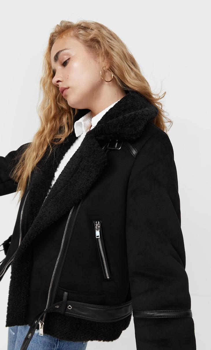 Двухсторонняя куртка в байкерском стиле из искусственной замши