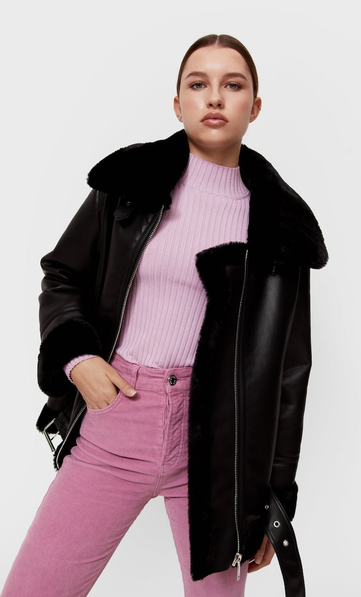 Faux leather double-faced aviator jacket